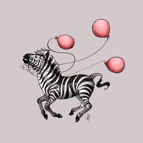 zebra with balloons